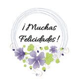 Happy birthday banner with text congratulate title in Spanish. Floral frame. Vector typography banner with text Congratulate - title in Spanish. Wedding or Royalty Free Stock Image