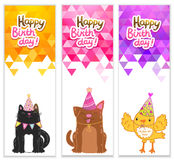 Happy Birthday banners with cat, dog, bird Royalty Free Stock Photography