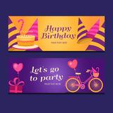 Happy birthday banners collection. Stock Photo