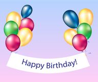 Happy birthday banners with colorful balloons. Vector Stock Image