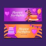 Happy birthday banners. Royalty Free Stock Photo