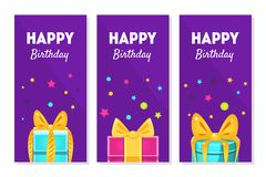Happy Birthday Banners Set, Happy Holidays Greeting Cards with Gift Boxes Vector Illustration. Web Design vector illustration