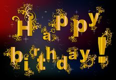 Happy birthday in baroque style Stock Images