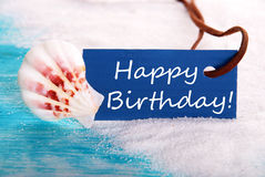 Happy Birthday in Beach Background Royalty Free Stock Photos