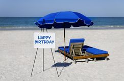Happy Birthday Beach Sign Royalty Free Stock Image