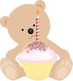 Happy birthday bear. Happy birthday teddy bear with birthday cake stock illustration