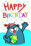Happy birthday bear card  illustration Stock Photography