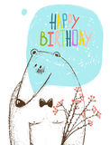 Happy Birthday Bear Greeting Card with Flowers Royalty Free Stock Image