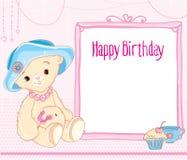 Happy Birthday. Bear hat. pink card Stock Photos