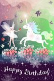 Happy Birthday. Beautiful greeting card with fairy girl and unicorn in magic forest Royalty Free Stock Photos