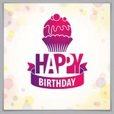 Happy Birthday beautiful greeting card vector design. Includes b. Eautiful lettering and cupcake composition placed over blurred circles abstract background stock illustration
