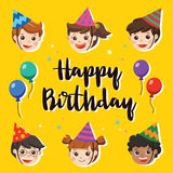 Happy Birthday. Beautiful Kids greeting funny. Illustration card. Happy Birthday. Beautiful Kids greeting funny Character & Birthday Party Invitation Card Stock Photo