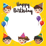 Happy Birthday. Beautiful Kids greeting funny. Illustration card. Happy Birthday. Beautiful Kids greeting funny Character & Birthday Party Invitation Card Royalty Free Stock Image