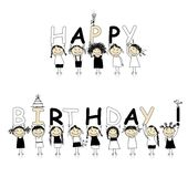 Happy birthday from beautiful smiling girls. Illustration Royalty Free Stock Photography