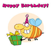 Happy birthday bee Stock Image