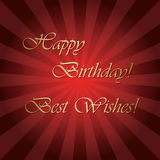 Happy birthday and best wishes - bright red vector greeting card. With rays Stock Photos