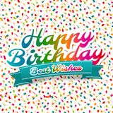 Happy Birthday and best Wishes greeting Card. royalty free illustration