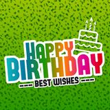 Happy Birthday best Wishes greeting Card with lettering design and Cake Icon. Royalty Free Stock Image