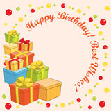Happy birthday and best wishes - vector greeting card with gifts Royalty Free Stock Image