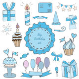 Happy Birthday big collection with gift and balloons, cake. And cupcake with candle, garland with star and other elements Stock Photo
