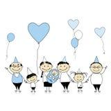 Happy birthday, big family with children Stock Photo