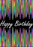 Happy birthday billboard with colorful lights Stock Photography