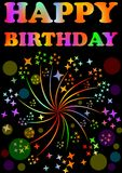 Happy birthday billboard with expressive rainbow inscription and firework motif on black background, decoration for the celebratio Stock Images