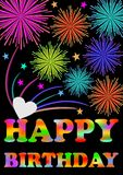 Happy birthday billboard. Firework over happy birthday inscription. Stock Image
