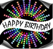 Happy birthday billboard with rainbow hearts. Composed in circle on black background Stock Images