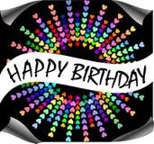 Happy birthday billboard with rainbow hearts Stock Images