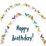 Happy birthday birds card with unusual funny design Royalty Free Stock Photos