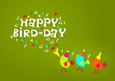 Happy birthday birds greeting card Royalty Free Stock Photos