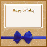 Happy Birthday. Birth Greeting card. Beige background. Adorned with a blue bow with a ribbon. Happy Birthday postcard. Birth Greeting card vector illustration vector illustration