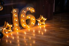 Free Happy Birthday! BIrthday Decoration For Sixteen Years Old Stock Image - 163802951