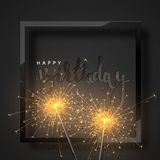 Happy Birthday black lettering with burning sparklers Royalty Free Stock Photos
