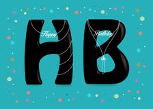 Happy Birthday. Black Letters with Pearl Collars Stock Photography