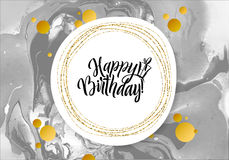 Happy Birthday Black Marble Texture Card. Shimmer Golden Banner Template on White Background. Vector Illustration Gold. Foil Glitter Frame Royalty Free Stock Photo