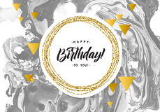 Happy Birthday Black Marble Texture Card. Shimmer Golden Banner Template on White Background. Vector Illustration Gold. Foil Glitter Frame Stock Photos
