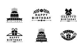 Happy birthday Black and white badges/ logo unites vector illustration