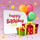 Happy birthday blue background with gift box. Additional file in eps 10 Stock Images