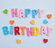 Happy Birthday on blue background Royalty Free Stock Photos