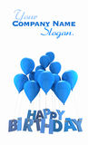 Happy birthday with blue balloons. 3D rendering of a group of balloons with the words happy birthday hanging from the strings in blue shades Royalty Free Stock Photography