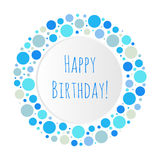 Happy Birthday blue bubbles illustration. Circle frame isolated congratulation symbol Stock Images