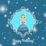Happy Birthday blue card with princess Stock Photography