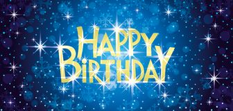 Happy birthday greeting card. Happy birthday blue greeting card with the stars royalty free illustration