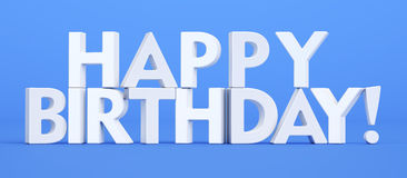 Happy Birthday blue inscription, 3D rendering. Happy Birthday text, 3D rendering on blue background Royalty Free Stock Photo