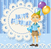 Happy Birthday blue openwork card to cute boy Stock Photo