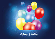Happy birthday blue postcard Royalty Free Stock Photography