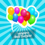 Happy Birthday Blue Retro Vector Background Stock Photography