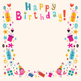 Happy Birthday border retro card. Happy Birthday border retro style card stock illustration